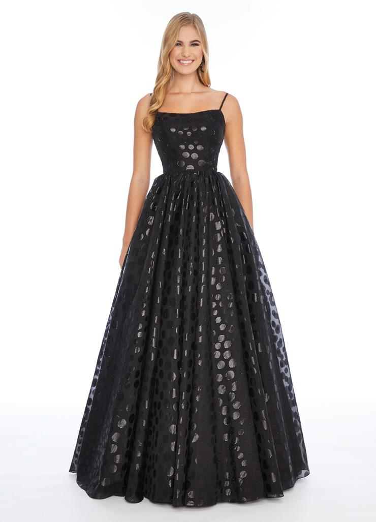 Ashley Lauren Spaghetti Strap Polka Dot A-Line Gown
