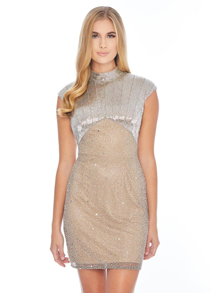 Ashley Lauren High Neck Beaded Cocktail Dress Image