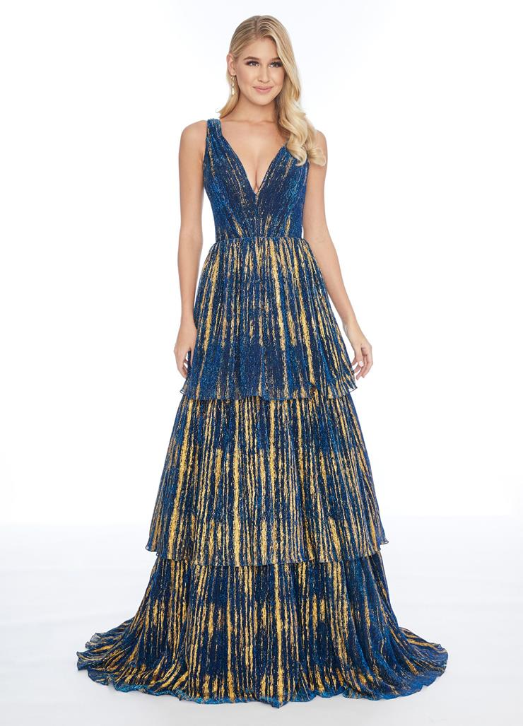Ashley Lauren V-Neck Tiered A-Line Evening Gown