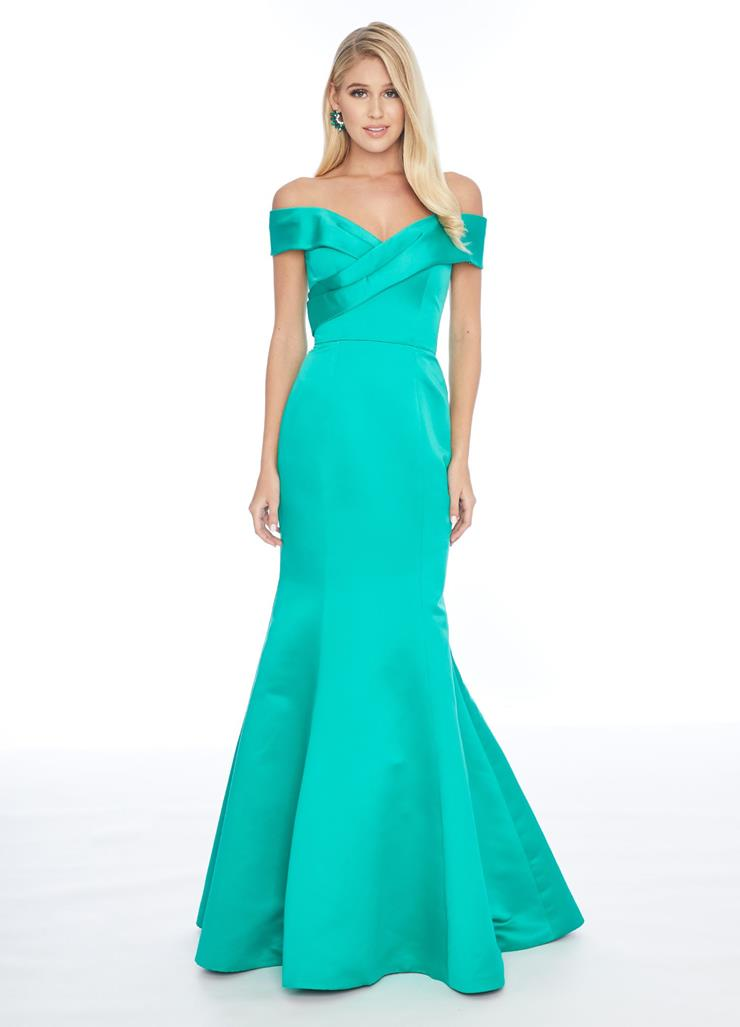Ashley Lauren Wrap Off Shoulder Fit & Flare Gown