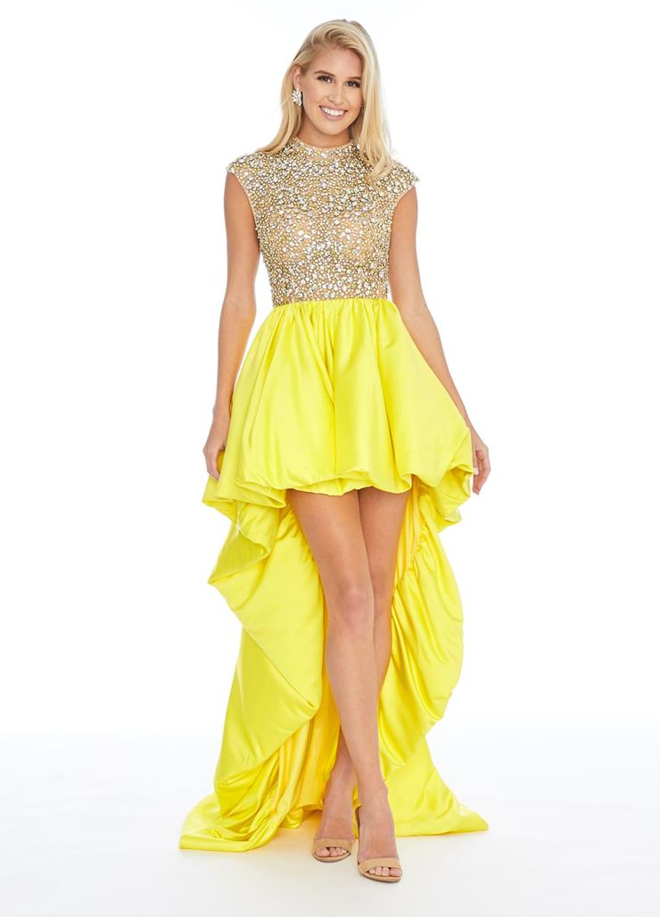 Ashley Lauren Crystal Bodice with Bubble Hem High-Low Skirt