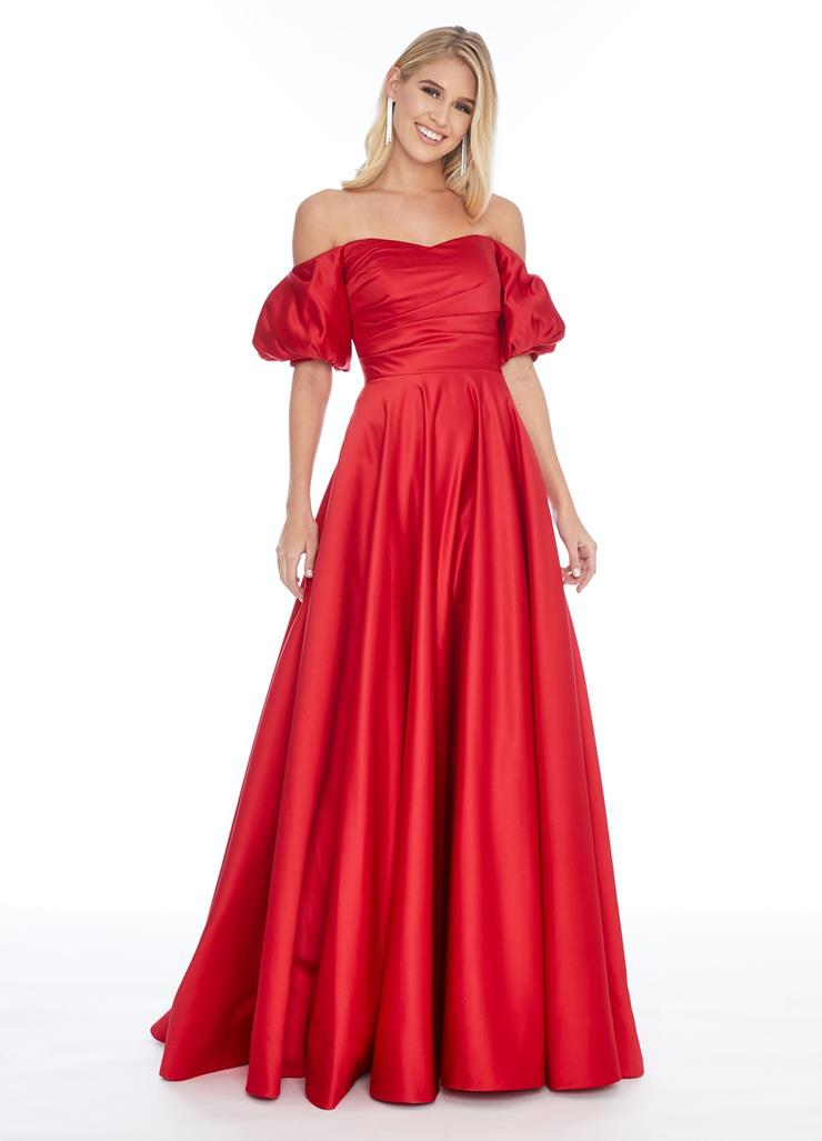 Ashley Lauren A-Line Strapless Evening Gown with Puff Sleeves