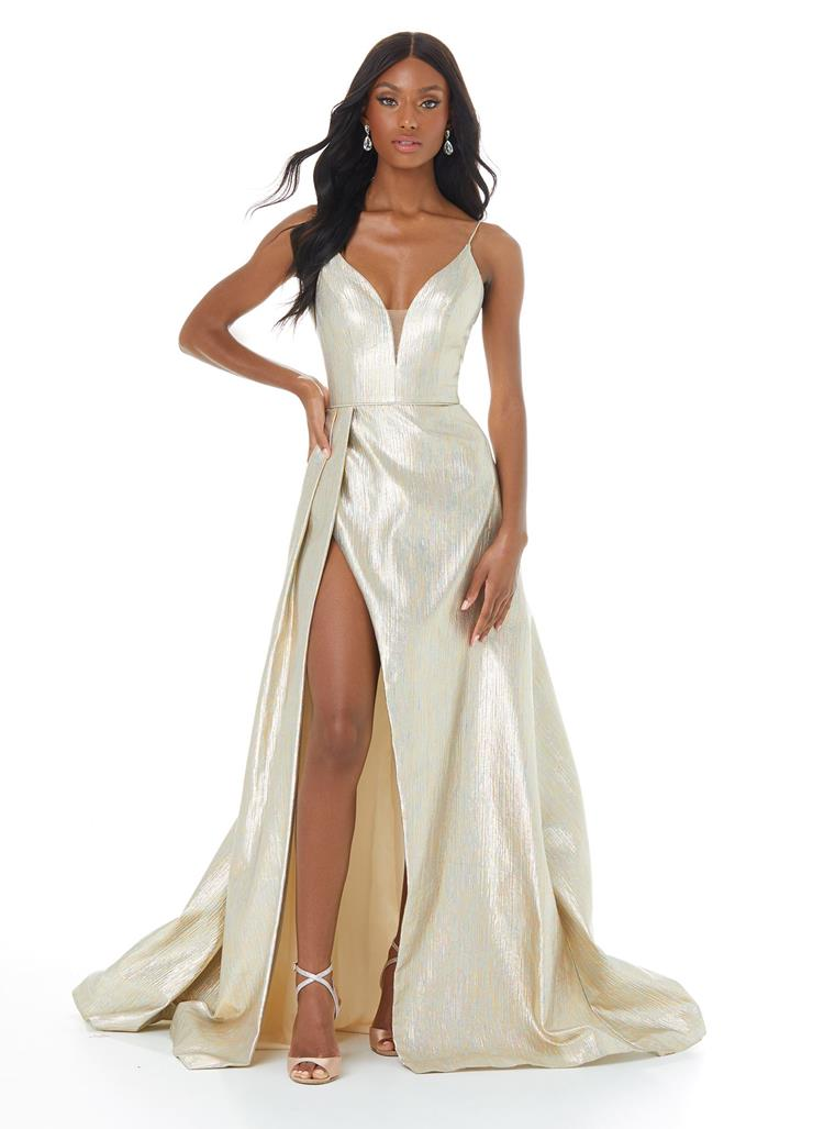 Ashley Lauren Gold Metallic A-Line with Slit Image