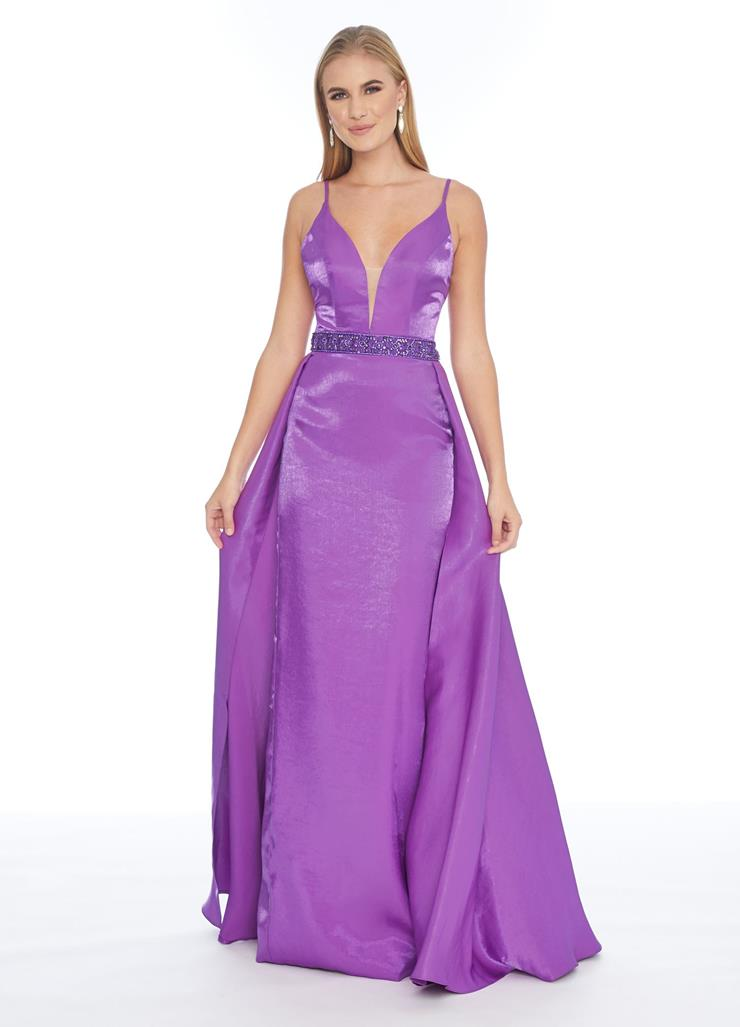 Ashley Lauren Satin Column Dress with Overskirt