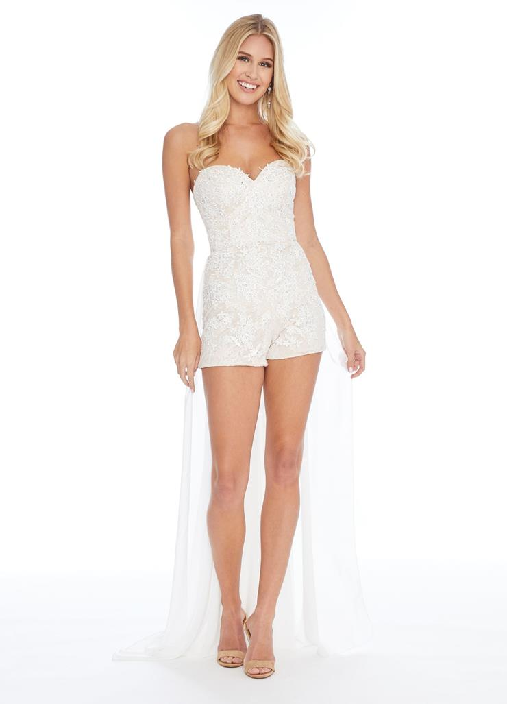 Ashley Lauren Strapless Lace Romper with Chiffon Overskirt