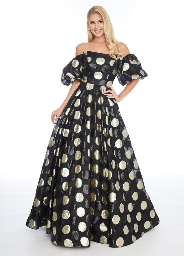 Ashley Lauren Off Shoulder A-Line Gown with Polka Dots Image