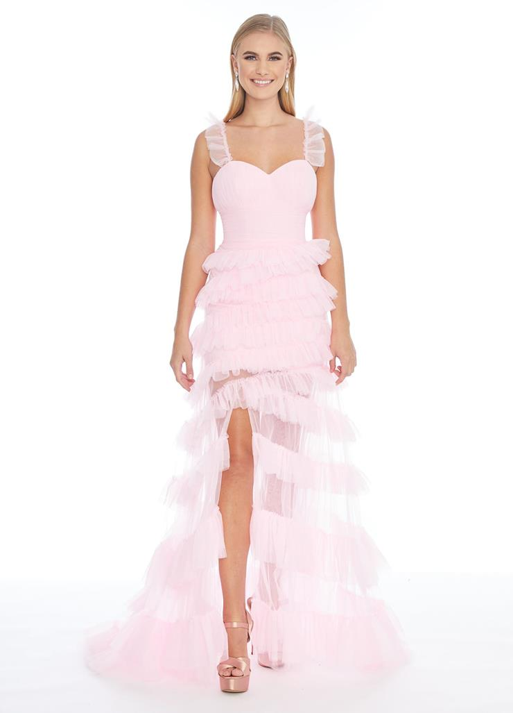 Ashley Lauren Tulle Gown with Ruffle Details Image