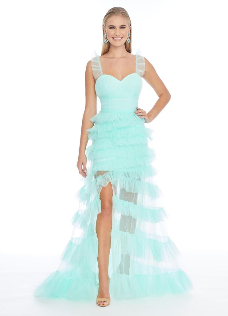 Ashley Lauren Tulle Gown with Ruffle Details