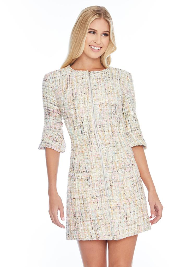 Ashley Lauren Crew-Neck Tweed Cocktail Dress Image