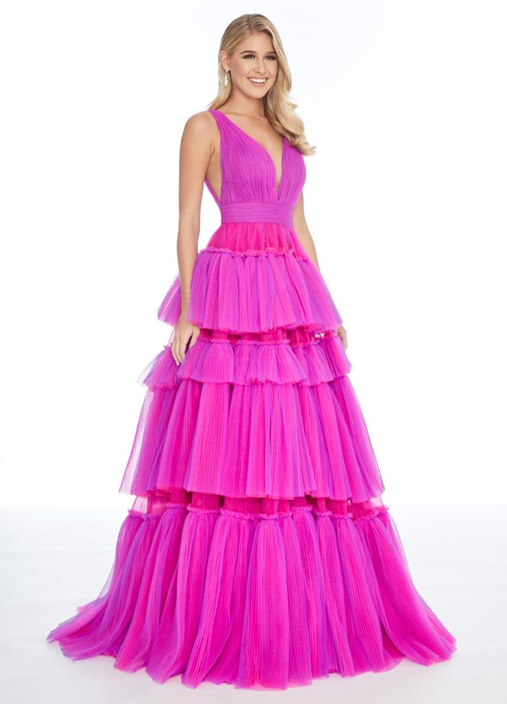 Ashley Lauren Pleated Tulle Tiered Ball Gown
