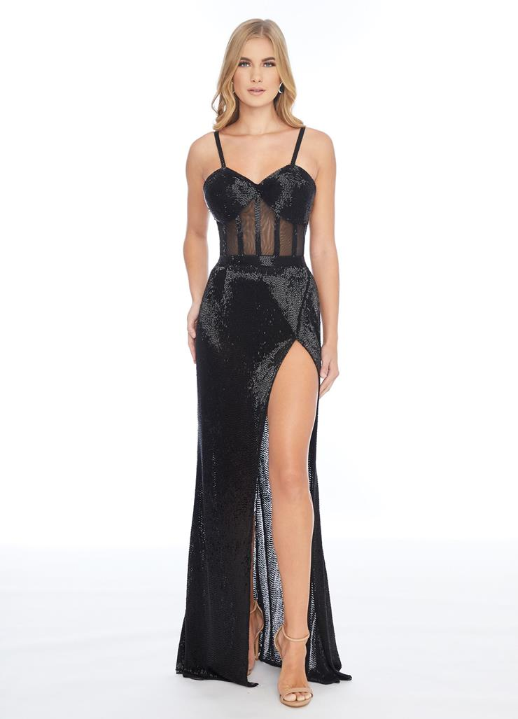 Ashley Lauren Liquid Beaded Gown with Wrap Skirt Image