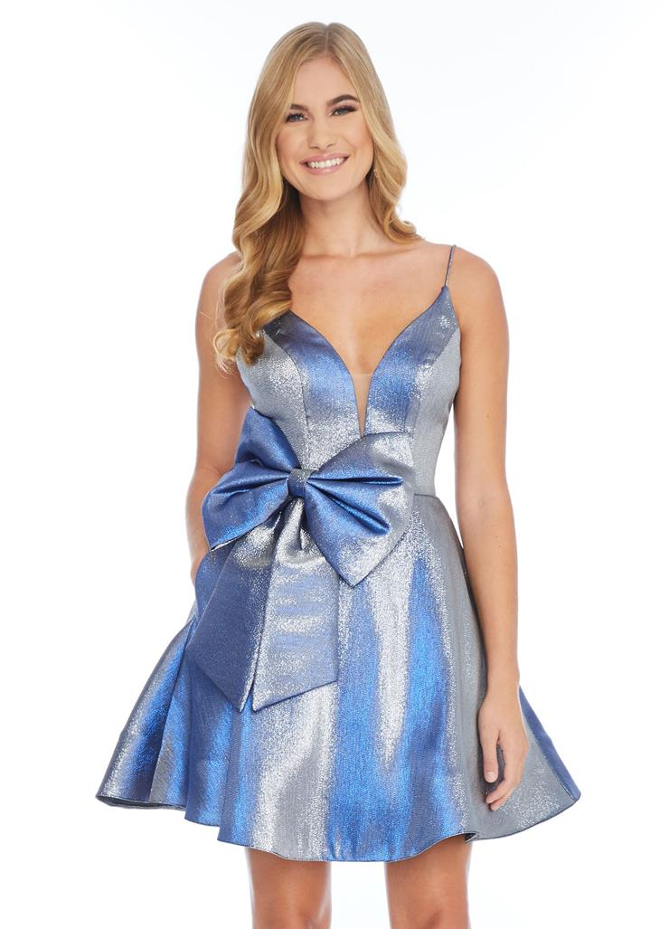 Ashley Lauren Metallic Two-Tone Cocktail Dress with Bow Image
