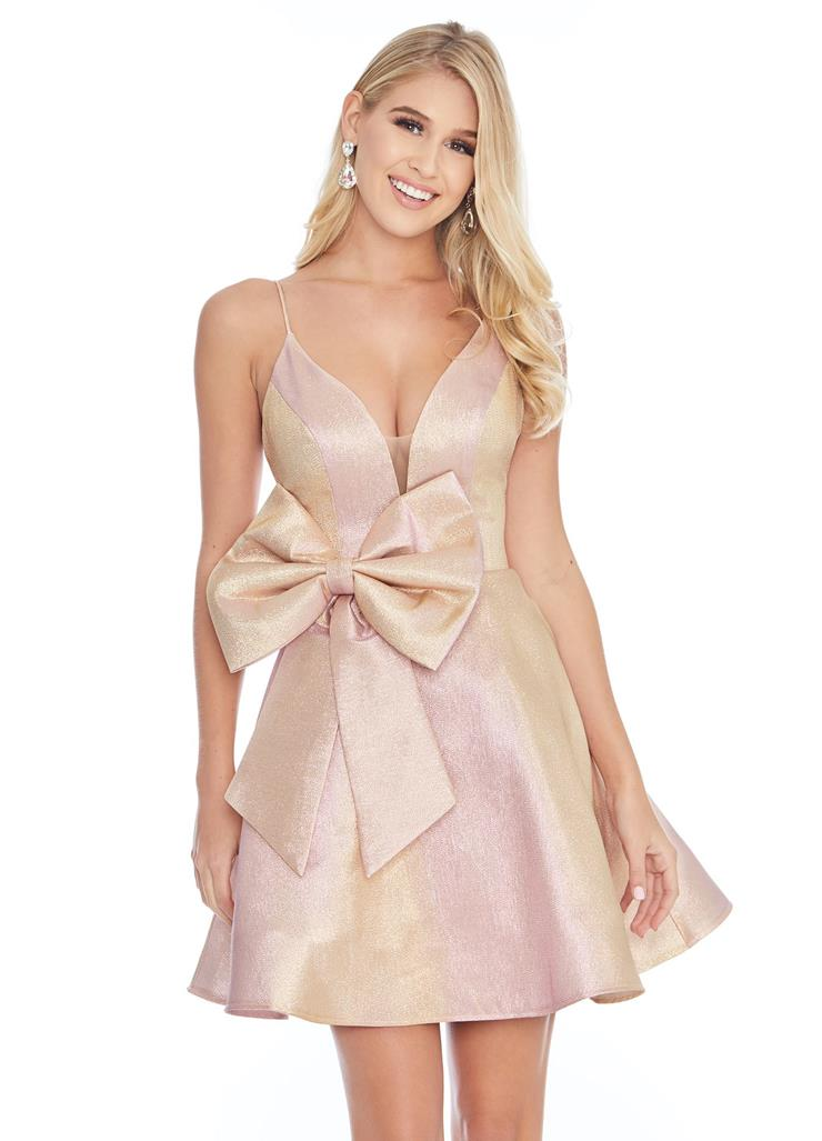 Ashley Lauren Metallic Two-Tone Cocktail Dress with Bow