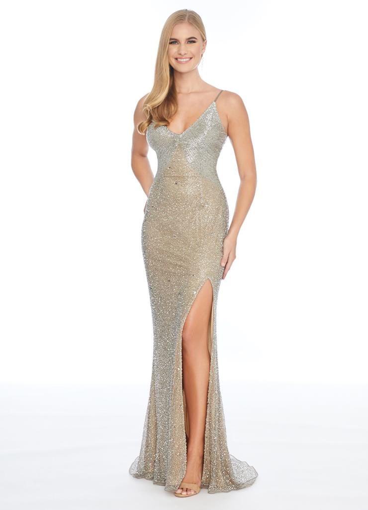 Ashley Lauren Fully Beaded Gown with Slit