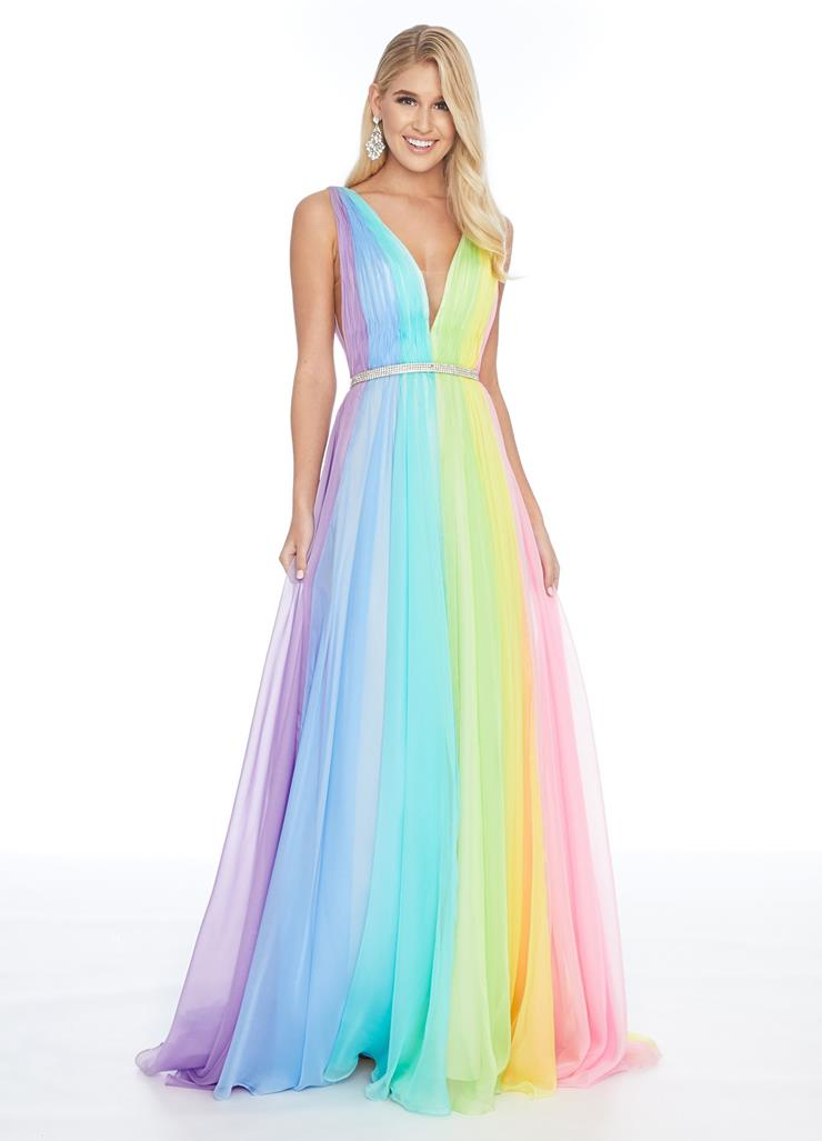Ashley Lauren Rainbow Chiffon A-Line Dress