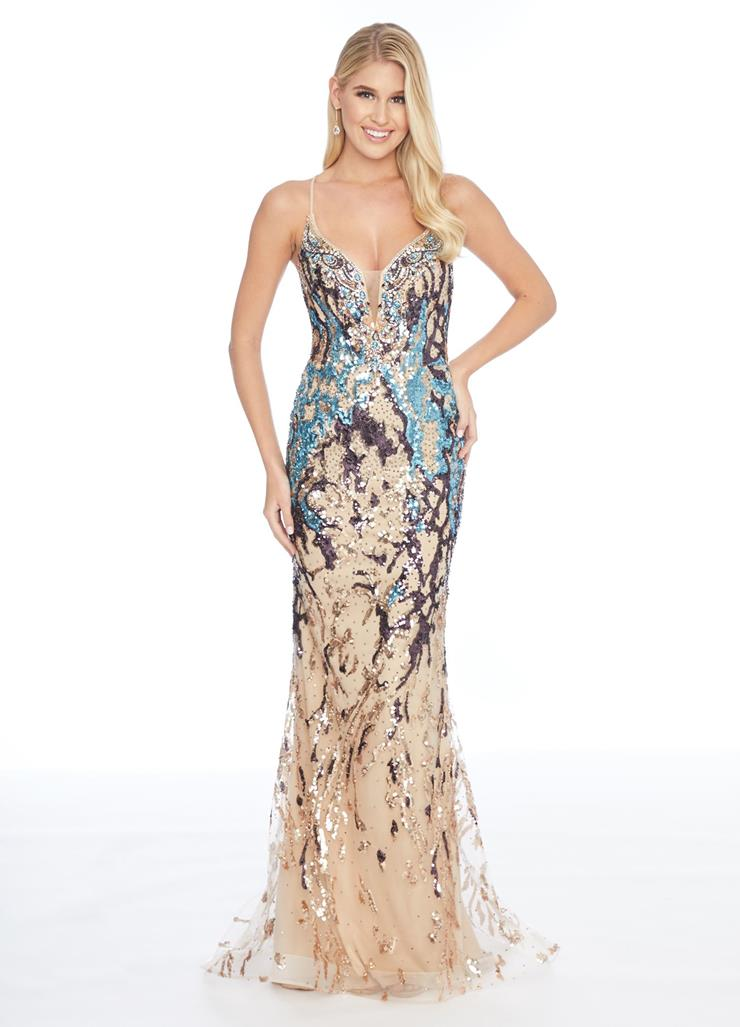 Ashley Lauren V Neckline Fit and Flare Evening Gown