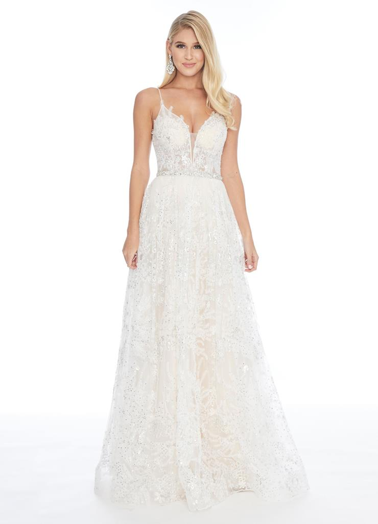 Ashley Lauren A-Line Embroidered Lace Ball Gown with Illusion Bustier Image