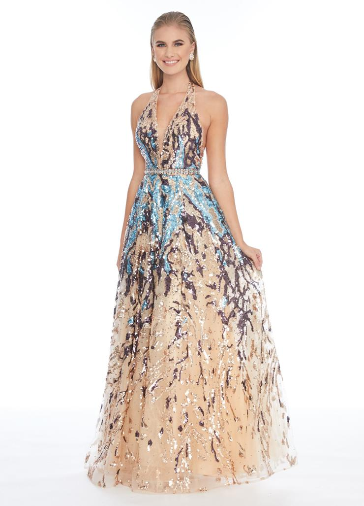 Ashley Lauren Sequin Embellished Halter Ball Gown Image