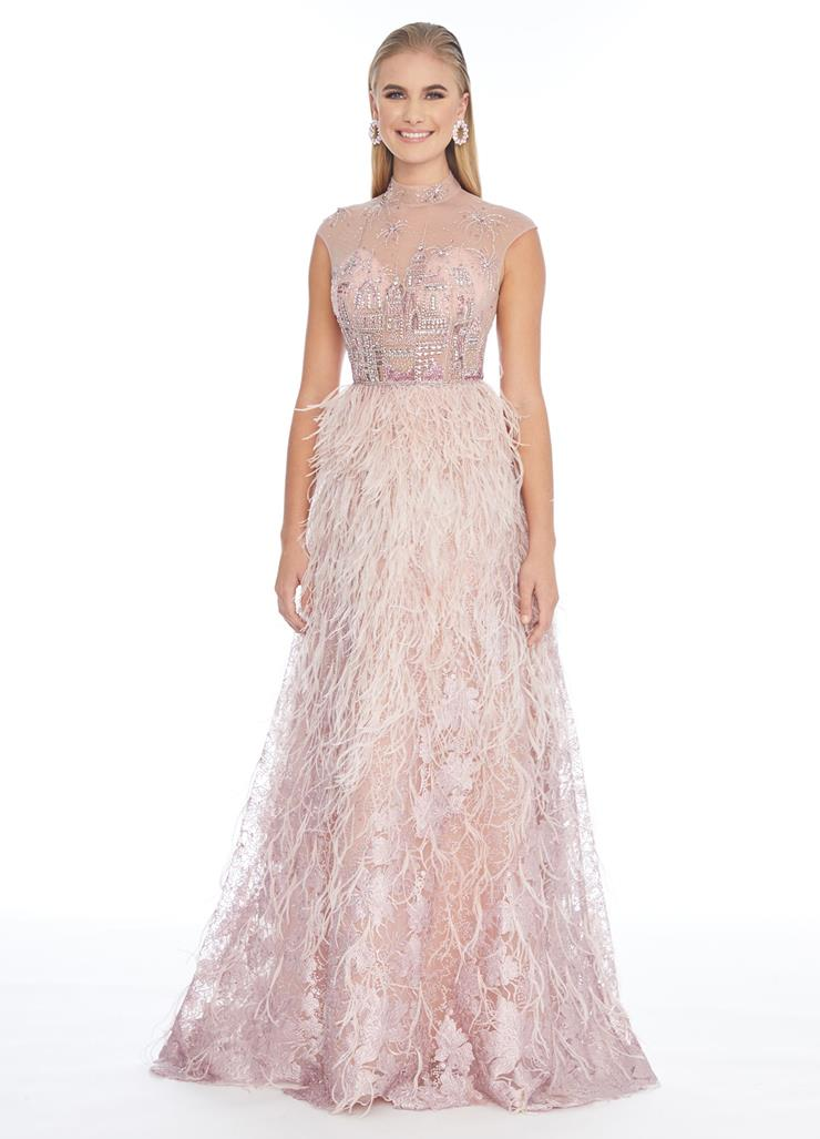 Ashley Lauren Feather A-Line Gown with Beaded Bustier