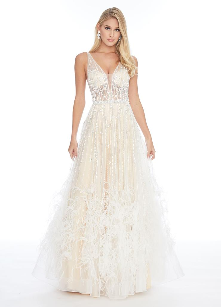 Ashley Lauren V-Neck Gown with A-Line Feather Skirt Image