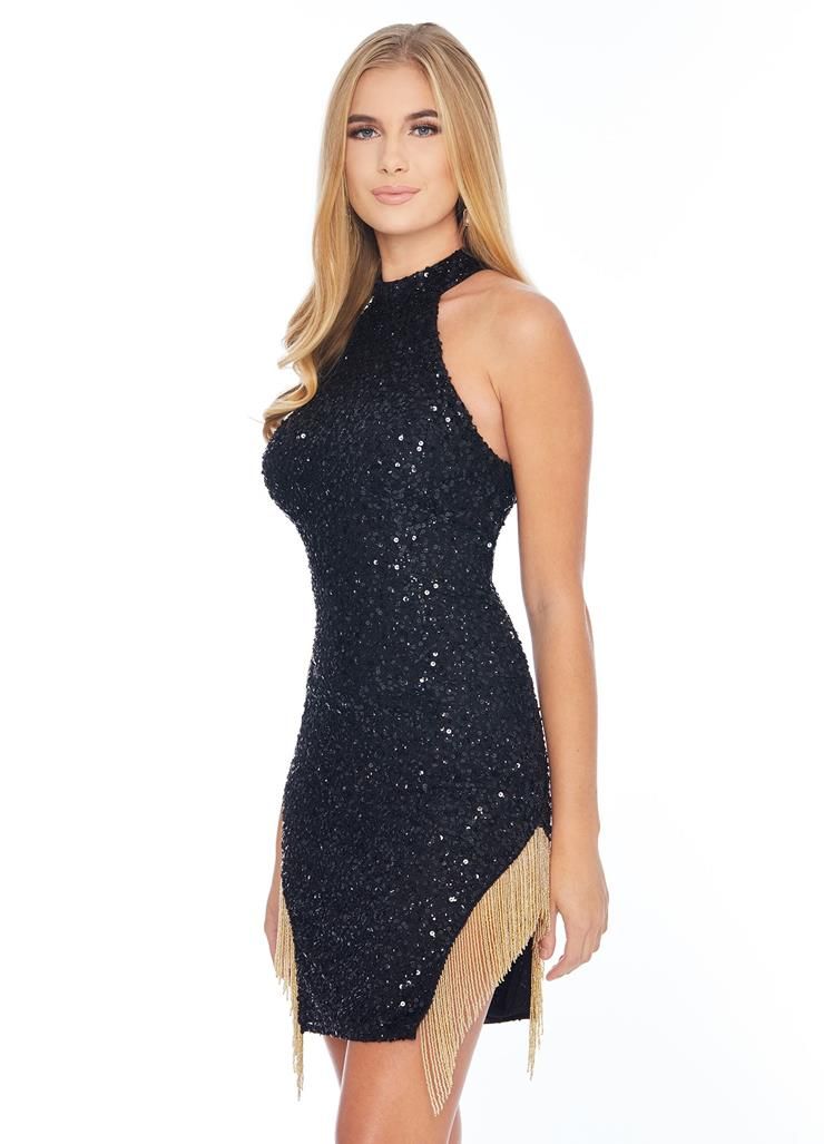 Ashley Lauren Fitted Sequin Gown with Fringe Image