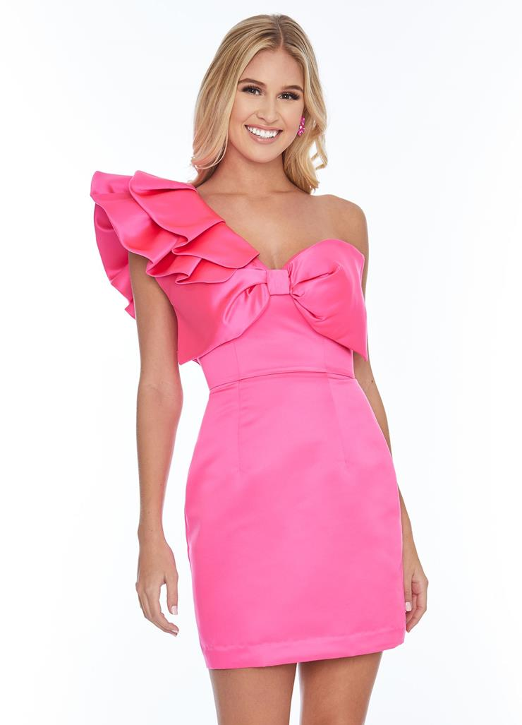 Ashley Lauren Fitted One Shoulder Bow Cocktail Dress Image