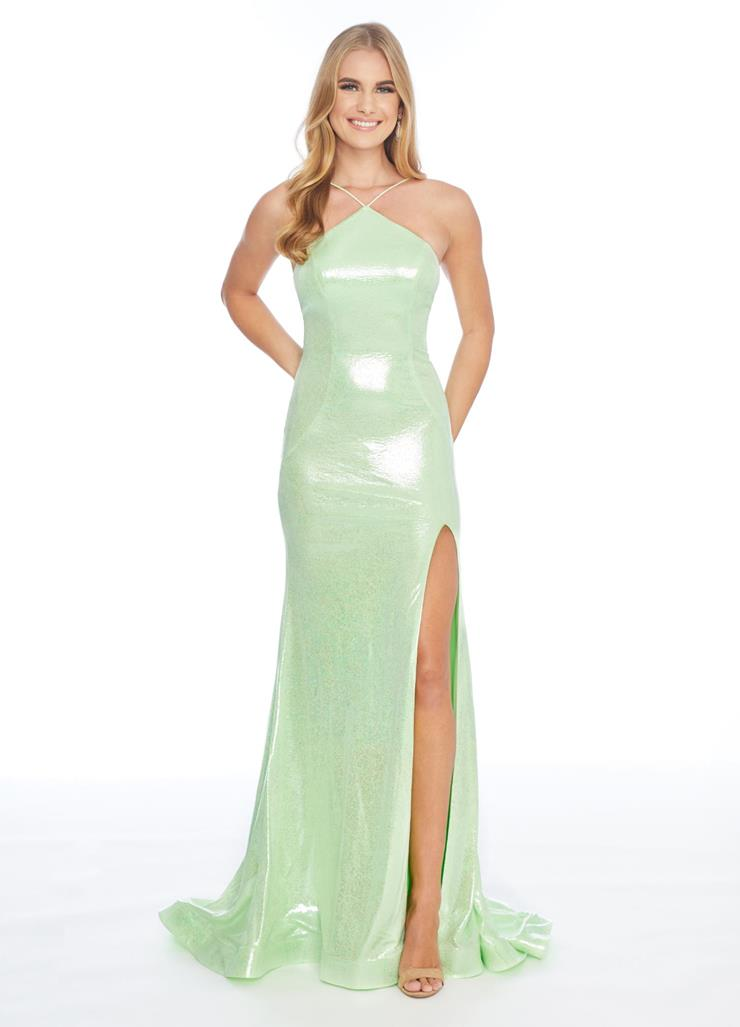 Ashley Lauren Fitted Metallic Jersey Gown Image