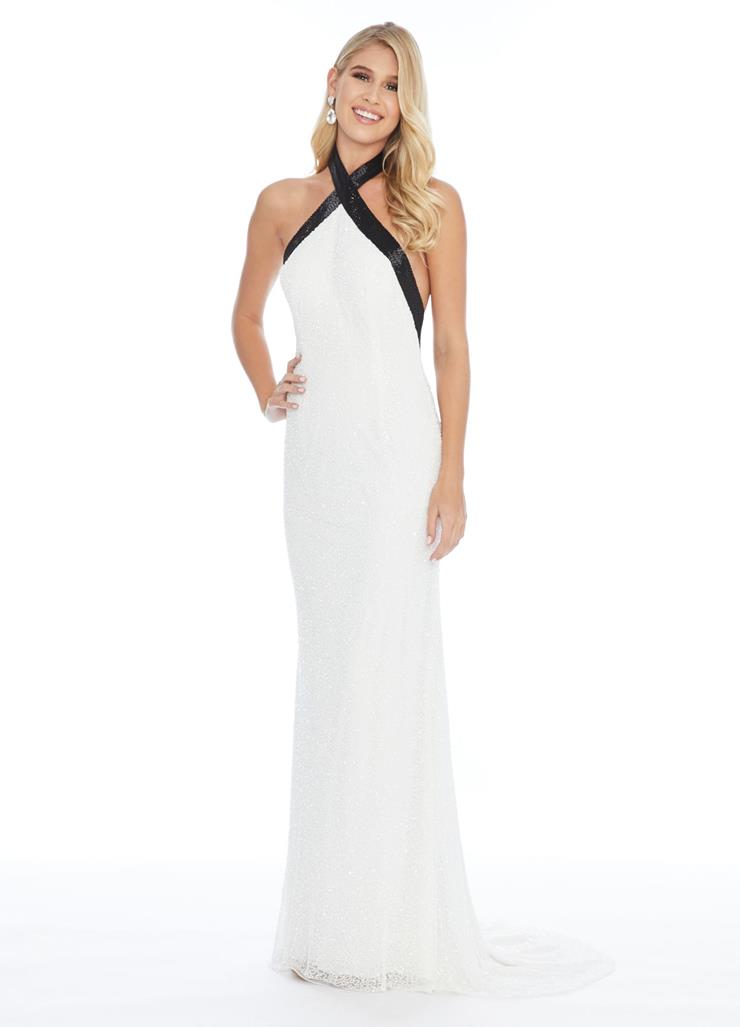 Ashley Lauren Fitted Criss-Cross Neck Evening Gown Image