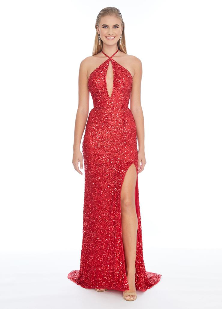 Ashley Lauren Beaded Criss-Cross Keyhole Bustier Gown Image