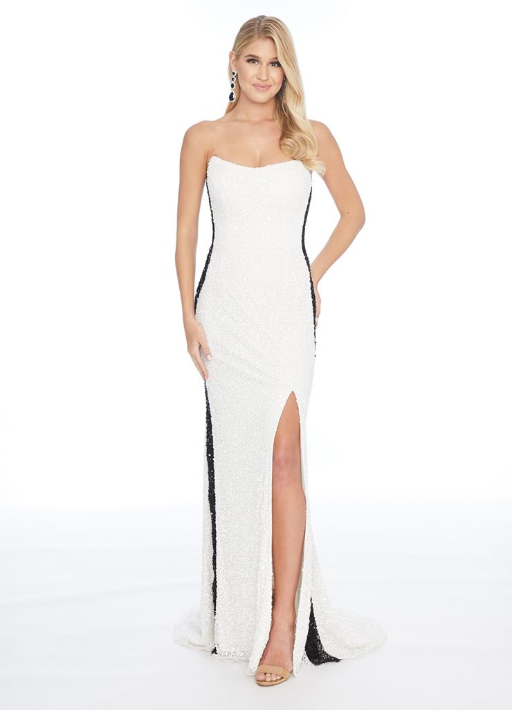 Ashley Lauren Strapless Beaded Gown with Slit
