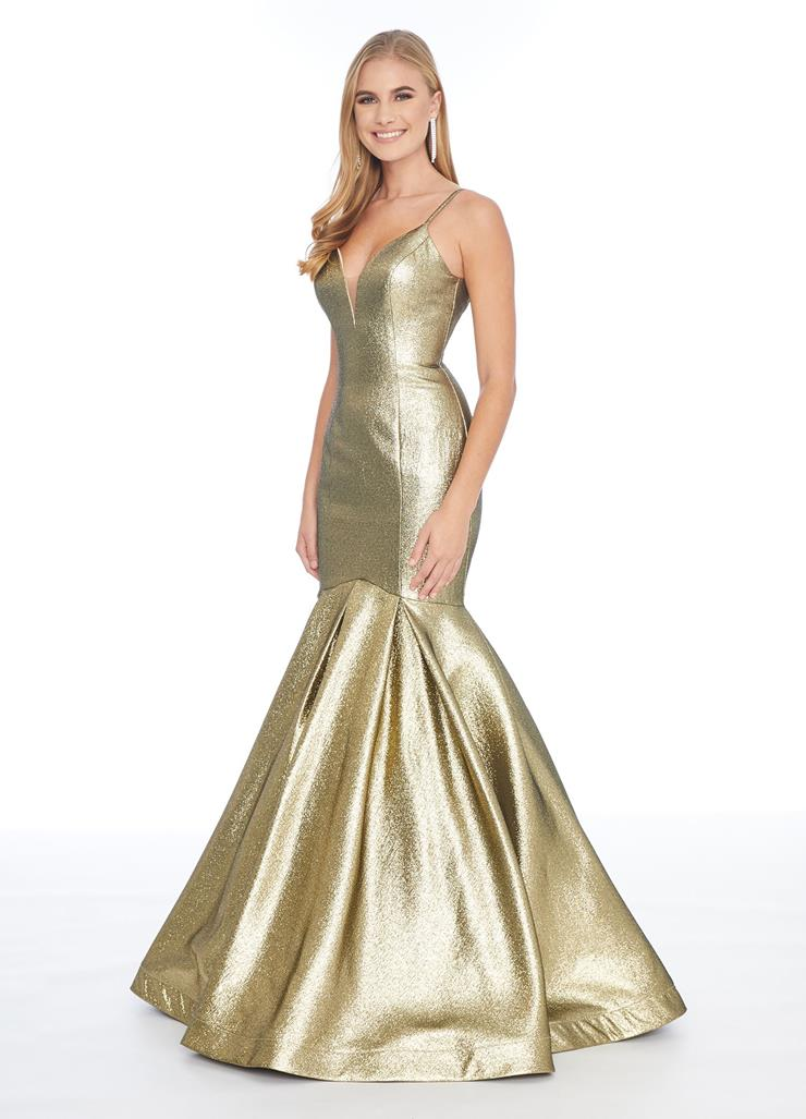 Ashley Lauren Metallic V Neck Fit and Flare Gown
