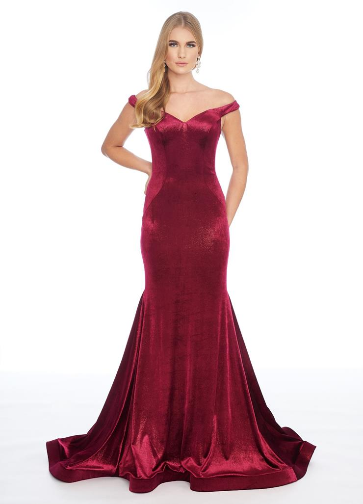 Ashley Lauren Metallic Velvet Fit & Flare Gown