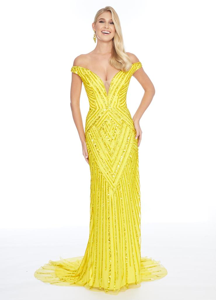 Ashley Lauren Beaded Off the Shoulder Evening Gown