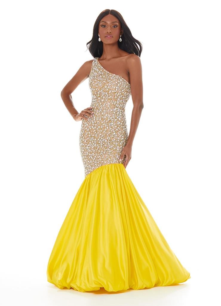 Ashley Lauren One Shoulder Fit & Flare with Fully Encrusted Bodice Image