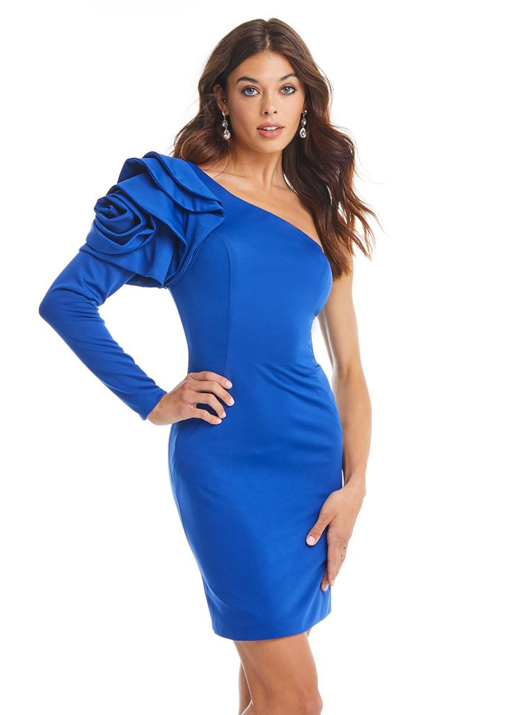 Ashley Lauren Fitted One Shoulder Sleeve Dress with Rosette Detail Image